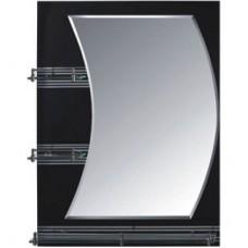 Зеркало FRAP F680 60х80 черное с 3-мя полочками комбинированное