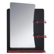 Зеркало FRAP F678 60х80 черное с 3-мя красными полочками