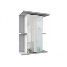 219 Зеркало-шкаф PROFLINE  (1 дверь/зеркало 2полки) 55см, без подсветки, Молочный глянец